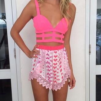 shorts crop tops tank top blouse skirt pink top crop girly bright pink bright crop tops pink tank top beautiful summer outfits