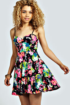 Layla Floral Strappy Skater Dress at boohoo.com