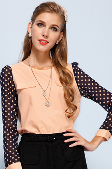 Polka Dots Sleeves Blouse with Pockets Front [FDBI00558] - PersunMall.com