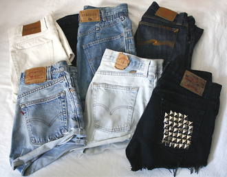 shorts hipster high waisted shorts spikes black blue jeans vintage levi's shorts black high waisted hot pants women clothes studs studded shoes black shorts high waisted denim shorts denim denim vintage shorts jewels fashion denim shorts jeans