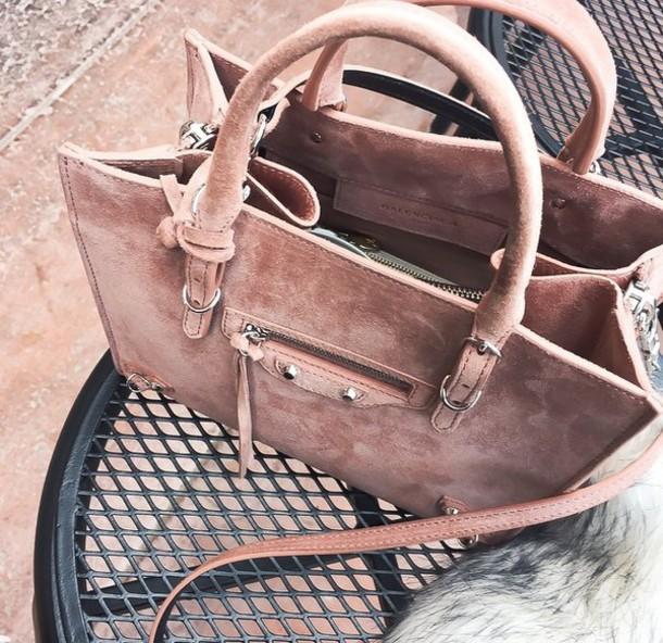Super bag, purse, designer, suede, pink, balenciaga, designer bag, dusty  DO14