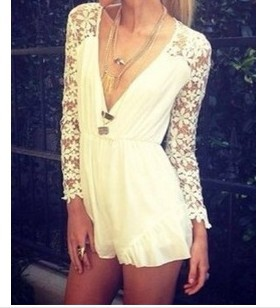 New 2014 Hot Selling Women's Summer Lace Jumpsuit Shorts Sexy Women Overalls Fashion Casual Long Sleeves White Lace Playsuits-in Jumpsuits & Rompers from Apparel & Accessories on Aliexpress.com
