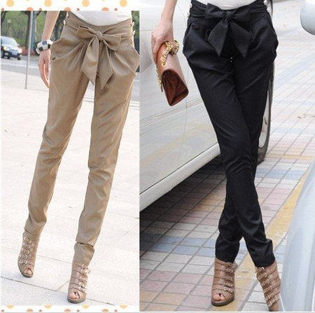 EAST KNITTING AS 015 2013 high waist women's Skinny Long Trousers OL casual Bow harem pants plus size Black, Khaki Free shipping-in Pants & Capris from Apparel & Accessories on Aliexpress.com