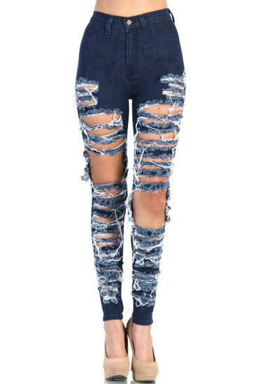 LoveMelrose.com From Harry & Molly | Destroyed High Waist Jean - Blue