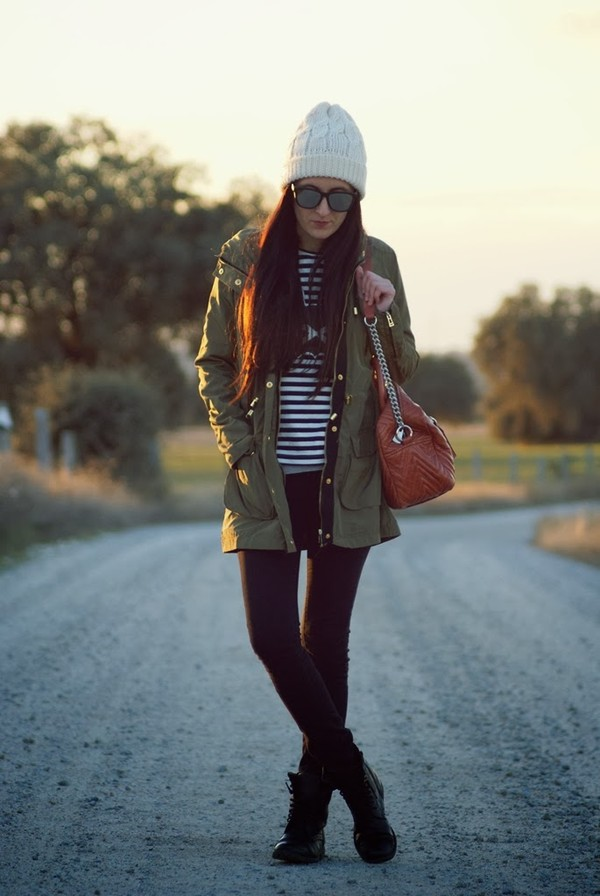 my name is maria coat shirt jeans shoes bag hat sunglasses