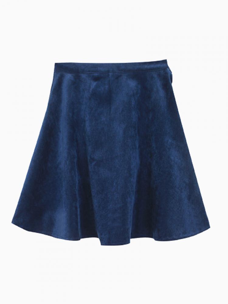 Velvet Blue Skater Skirt   Choies