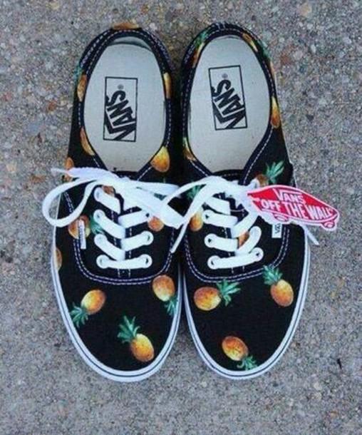 shoes pineapple shorts pom pomss vans t-shirt