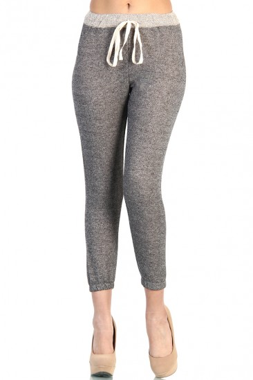 LoveMelrose.com From Harry & Molly | Big Bow Gray Skinny Sweatpants - Gray