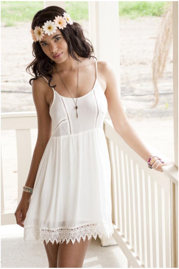dress dress mini dress white dress sleeveless dress lace trim dress lace dress babydoll dress