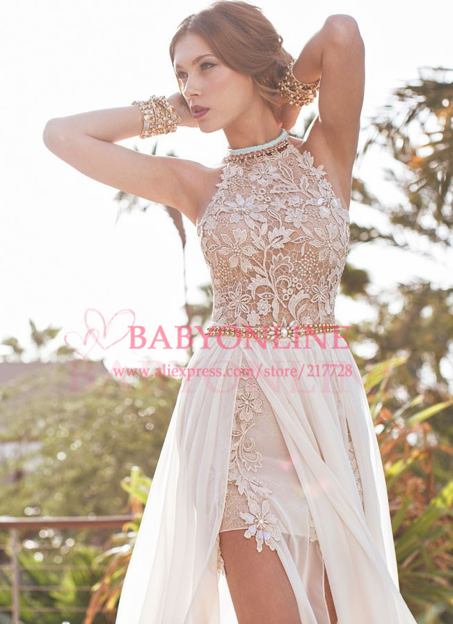 Aliexpress.com : Buy $99.99 Only Elegant Deep V Neck Lace Prom Dress White With Long Sleeves Gold Belt 2014 Vestidos De Fiesta Free Shipping CPS017 from Reliable dresses for big women suppliers on Suzhou babyonline dress Factory