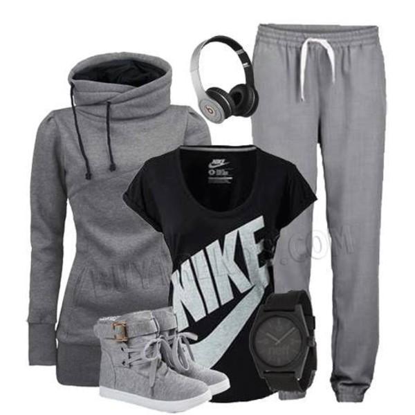 pants sweats sweater sweatpants grey black shirt
