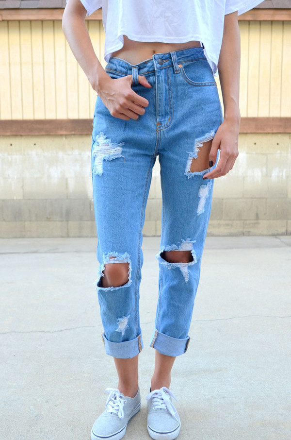 Jeans: boyfriend jeans denim light blue acid wash ripped jeans