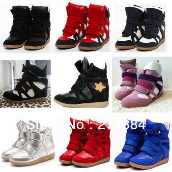 2013 Latest 50  Styles Drop Free Shipping Isabel Marant Genuine Leather Wedge Hidden Heel Boots Height Increasing Sneakers Shoes-in Boots from Shoes on Aliexpress.com