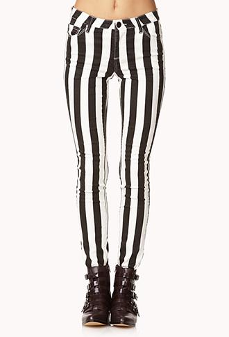 Bold Striped Skinny Jeans   FOREVER 21 - 2078390508