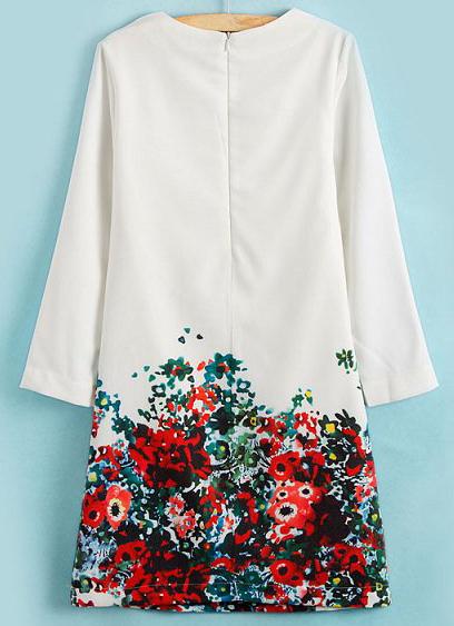 White Round Neck Long Sleeve Floral Slim Dress - Sheinside.com