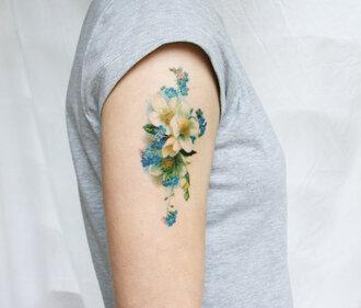 fake tattoos tattoo flowers cute romantic