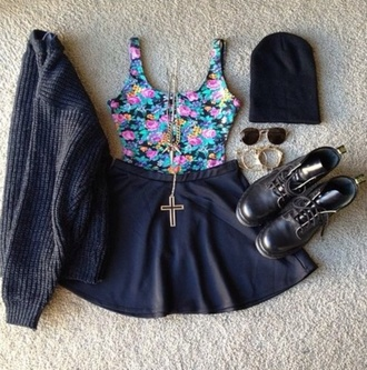 cardigan jewels roses cross necklace skater skirt drmartens oversized sweater skirt shoes