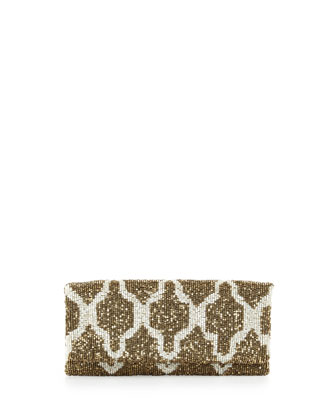 Moyna Trellis Beaded Clutch Bag, Gold