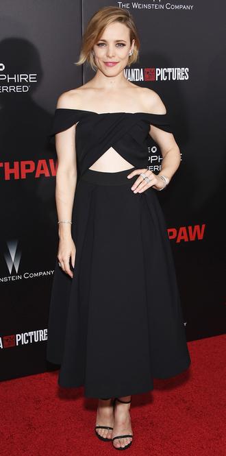 dress midi dress black dress rachel mc adams gown cut-out dress