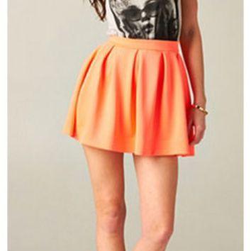 Neon Orange Scuba Skater Circle Pleated A Line Skirt by Honey Punch on Wanelo