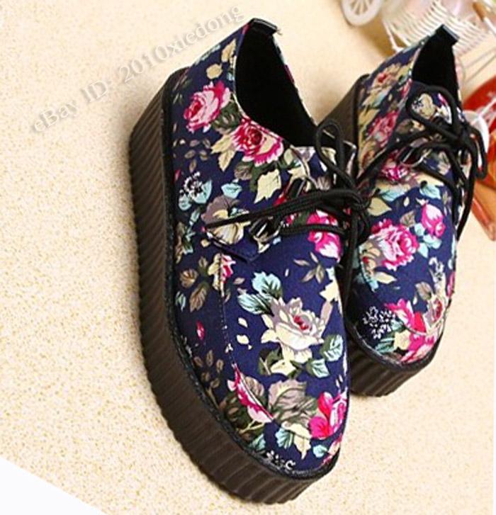 Women's Vintage Floral Printed Lace Up Punk High Platform Flat Creeper Shoes | eBay