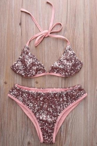 swimwear girly pink two-piece swimwear two piece sequins