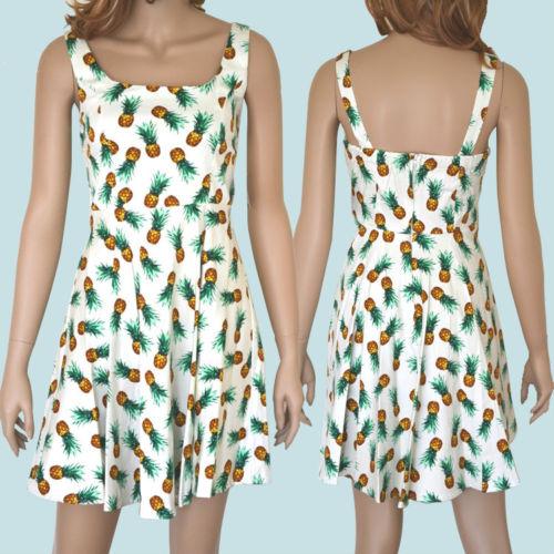 50s Vintage Style Pineapple Full Skirt Scoop Neck Pinup Sun Dress Very Cute | eBay
