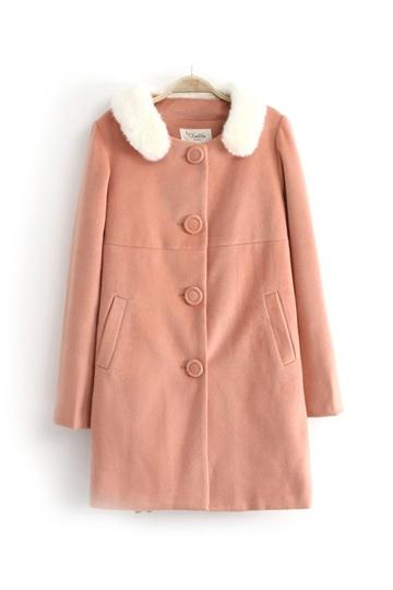 Sweet Style Wool Coat with Fur Hood [FEBK0391]- US$54.99 - PersunMall.com