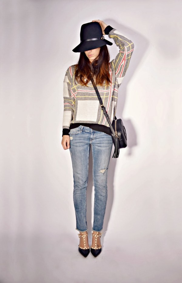 quality rivets sweater jeans shoes bag hat