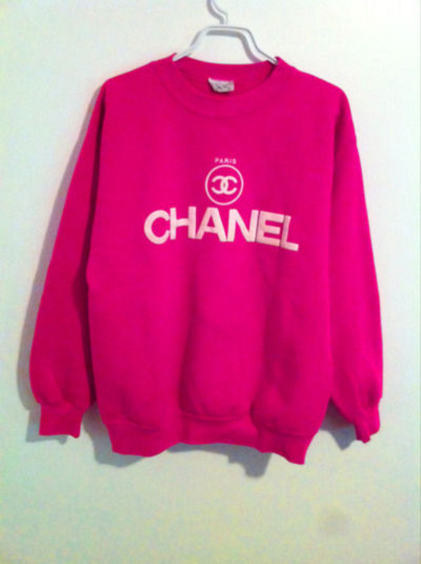 sweater clothes pink chanel sweatshirt crewneck wow blouse