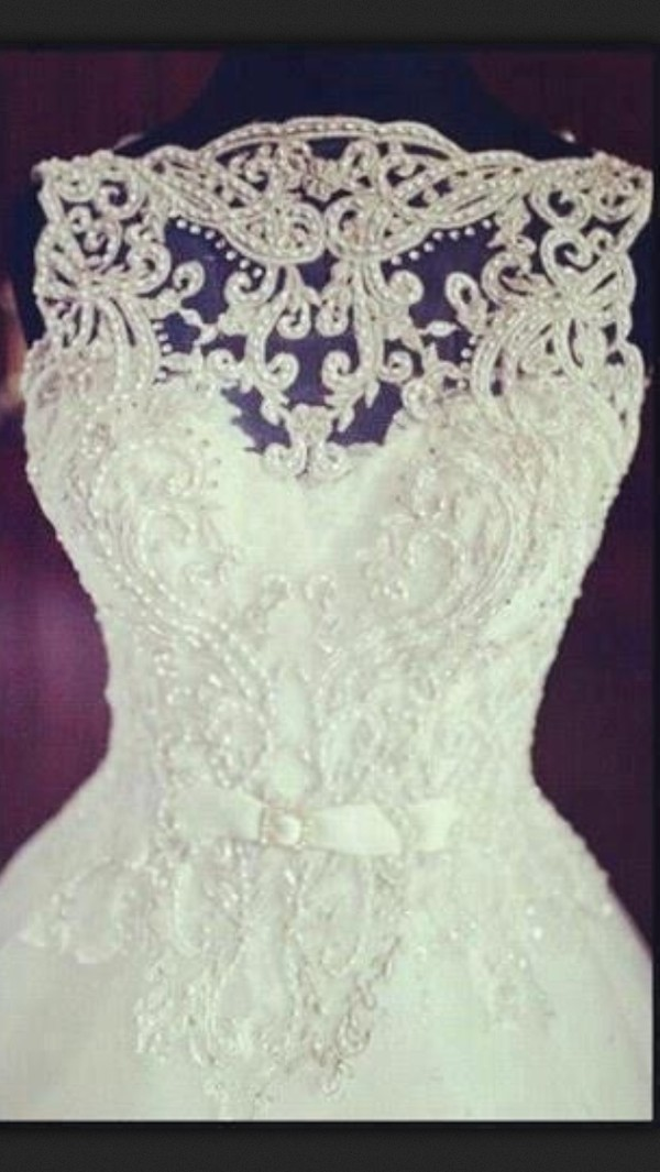 dress wedding lace wedding dress wedding clothes clothes pearl
