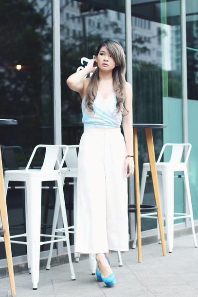 brown platform blogger top culottes pumps pants shoes