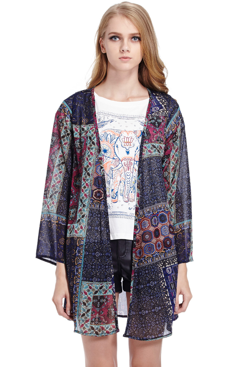 ROMWE | Ethnic Print Blue Chiffon Coat, The Latest Street Fashion