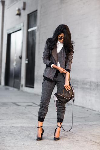 walk in wonderland blogger charcoal sandals grey sweatpants black bag top jacket pants bag shoes
