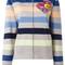 Marc jacobs striped hooded cardigan, women's, size: medium, grey, cotton/viscose/nylon/wool