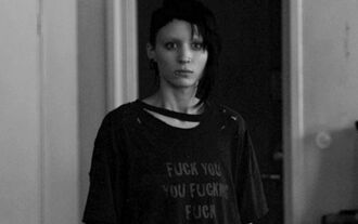 rooney mara black quote on it lisbeth salander the girl with the dragon tattoo t-shirt