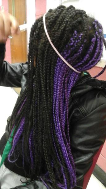 hair accessory purple hair box braids