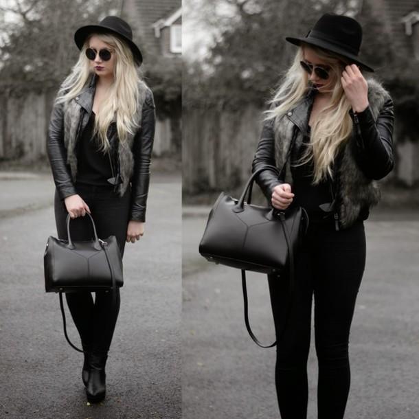sammi jackson blogger jacket bag hat sunglasses jeans shoes