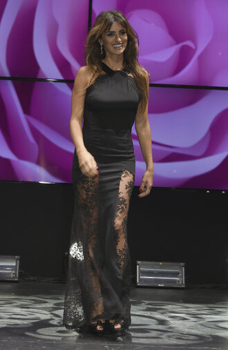 dress prom dress gown penelope cruz black dress black lace lace dress