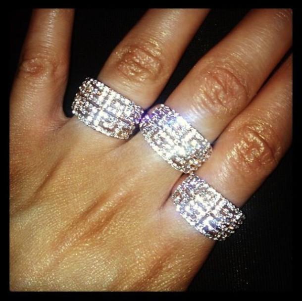 jewels greek key silver diamonds ring