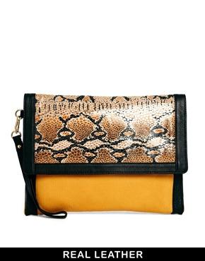 Urbancode | Urbancode Leather Honey Snake Oversized Clutch Bag at ASOS