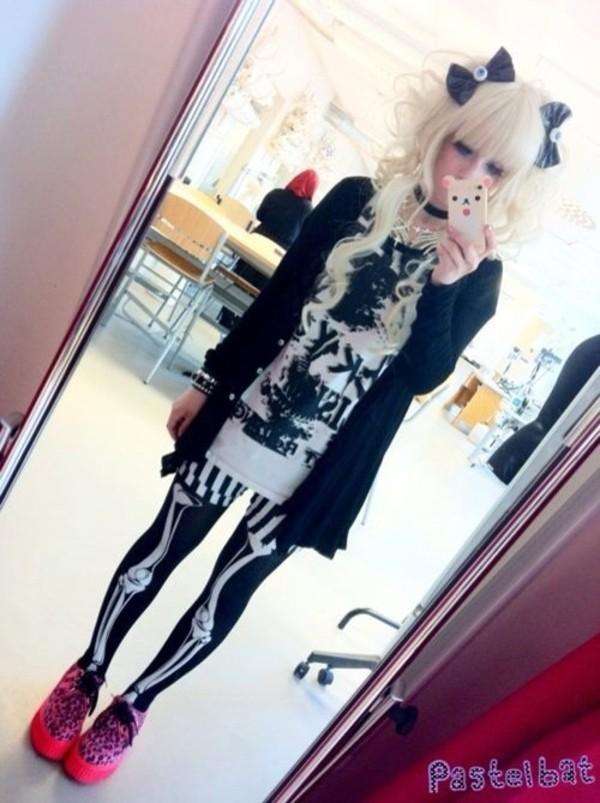 tights bones skeleton black goth pastel pastel goth cute