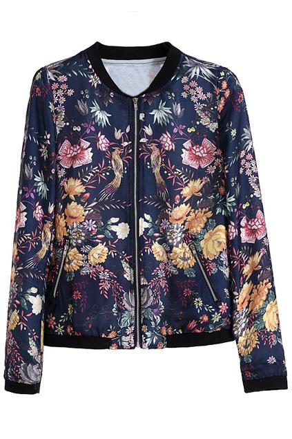 ROMWE | Floral Birds Print Zipper Blue Jacket, The Latest Street Fashion