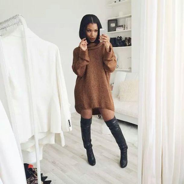 sweater dress boots turtleneck dress blouse style fashion fall sweater fall outfits cute dress trendy sweater dress knitted dress brown dress