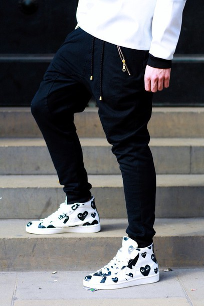 shoes black and white sneakers comme des garcons menswear mens shoes