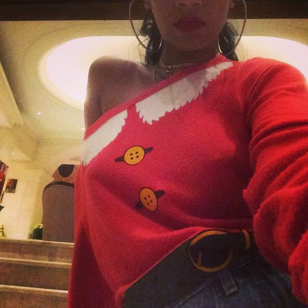 rihanna red sweater ugly christmas sweater top