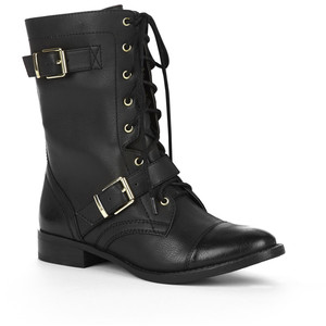 Glaze Stella6 Black Buckle Back Mid Calf Combat Boots and Wo... - Polyvore