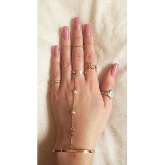 nail polish pink ballerina nails beautiful love ring gold bracelets barrym pastel spring summer 15 bracelet chains