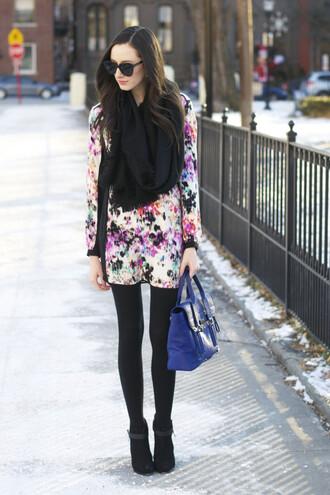 the glam files blogger blue bag satchel bag floral dress shift dress jewels scarf dress belt tights shoes bag opaque tights