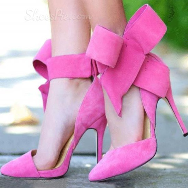 Bradshaw bow heels - Pink bow high heels with above the ankle closure.